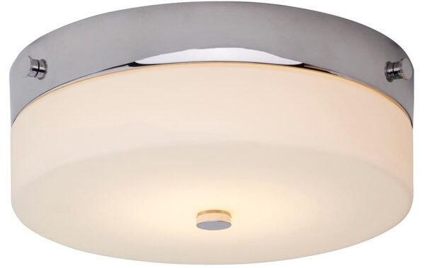 Elstead Tamar Medium Flush Bathroom Ceiling Light Polished Chrome IP44