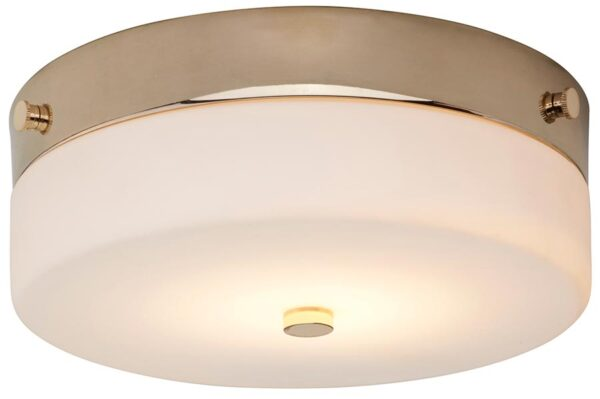 Elstead Tamar Medium Flush Bathroom Ceiling Light Polished Gold IP44