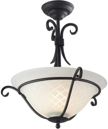 Torchiere Art Deco Style Black Iron Semi Flush Light UK Made