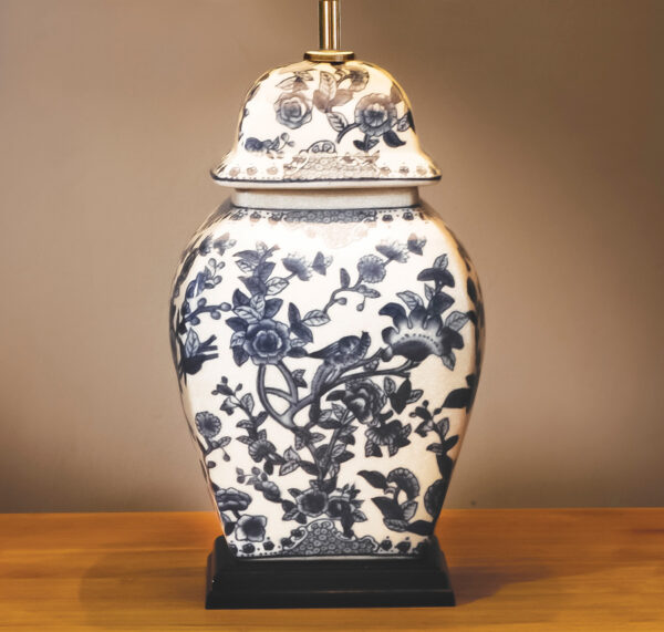 Ceramic Blue And White Temple Jar Table Lamp Base Only