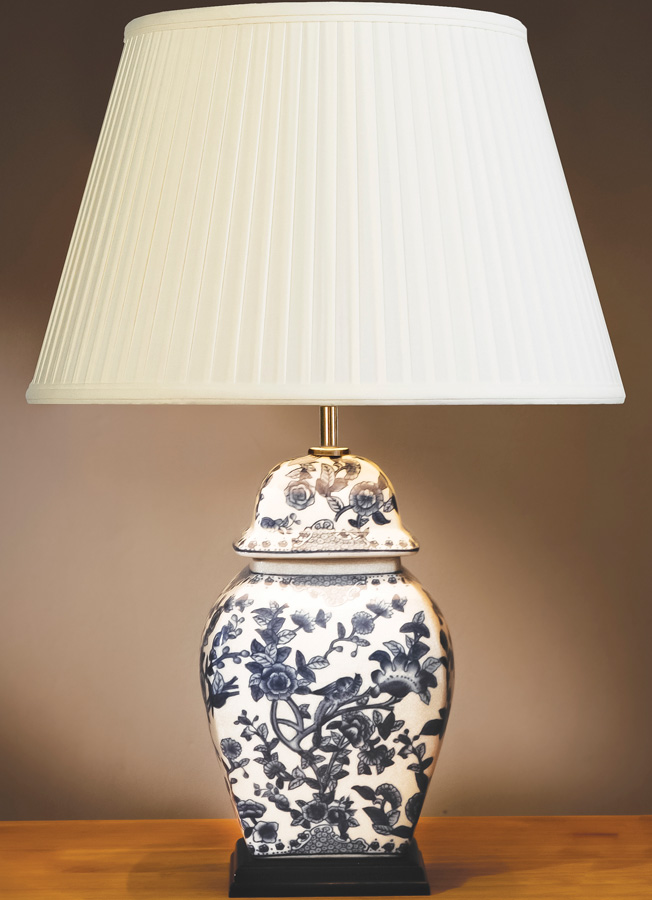 Ceramic Blue And White Temple Jar Table Lamp With Shade LUI/BLUE ...