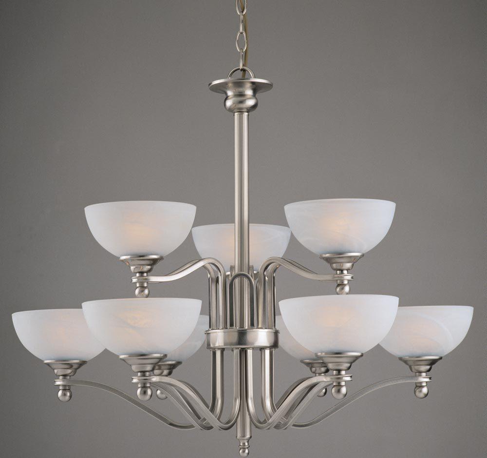 Large satin nickel two tier 9 light art deco style chandelier texas large satin nickel two tier 9 light art deco style chandelier arubaitofo Gallery