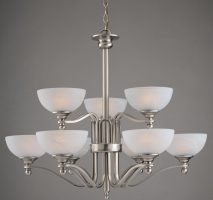 Texas Large Satin Nickel Two Tier 9 Light Art Deco Style Chandelier
