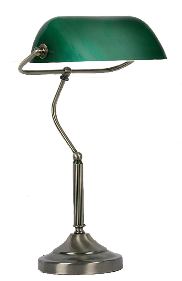 Traditional Antique Brass Green Banker Lamp
