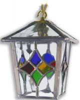 Torquay Multi Coloured Motif Leaded Glass Hanging Porch Lantern