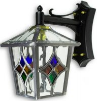 Torquay Multi Coloured Motif Leaded Glass Outdoor Wall Lantern Down