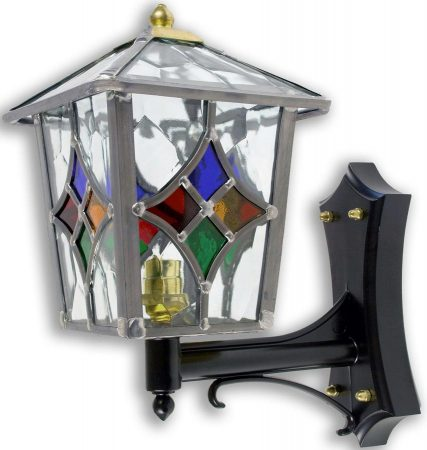 Torquay Multi Coloured Motif Leaded Glass Outdoor Wall Lantern Up