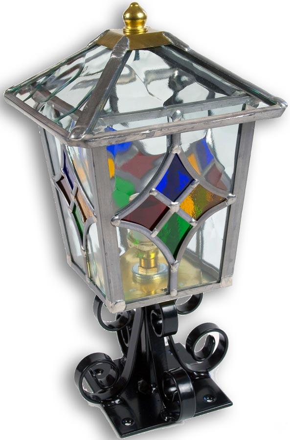 Torquay Multi Coloured Motif Leaded Glass Outdoor Post Light