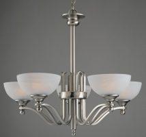 Texas Medium Satin Nickel Art Deco Style 5 Light Chandelier