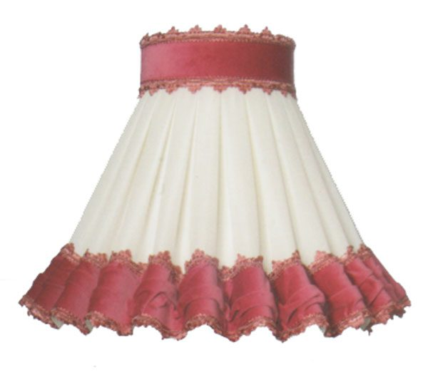Clip On Victoria Lampshade Cream Chiffon Pink Velvet Trim