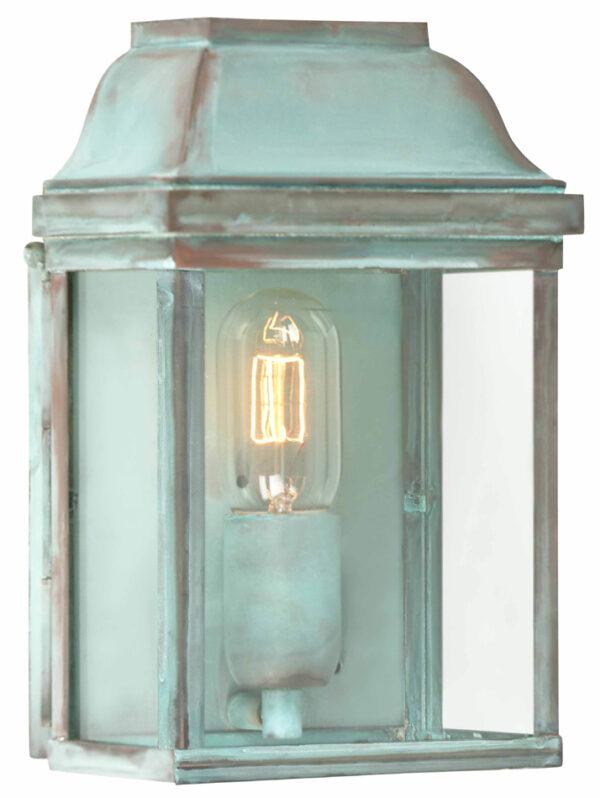 Victoria 1 Light Solid Brass Period Outdoor Wall Lantern Verdigris