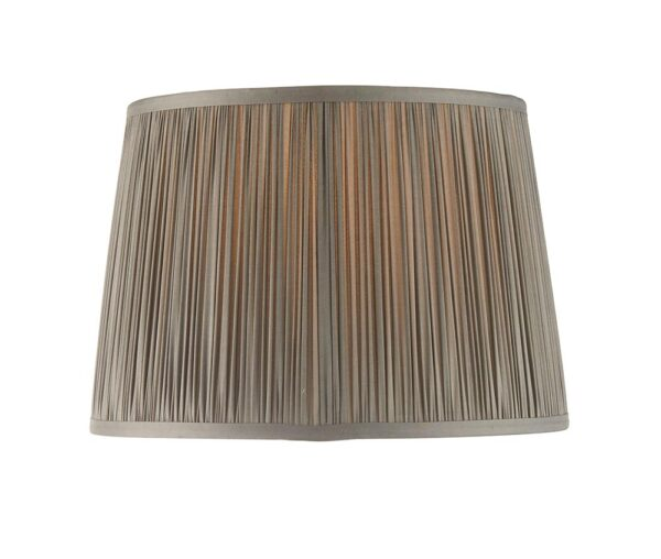 """Wentworth Classic Gathered Pleat Charcoal 12"""" Satin Silk Lamp Shade"""