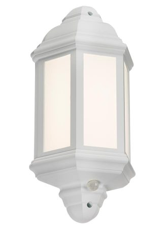 White Polycarbonate Outdoor PIR Sensor LED Wall Lantern Override IP54