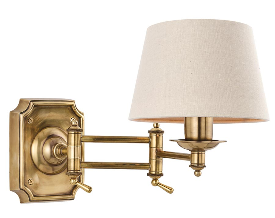 new product 27ece d0b0e Winchester Solid Mellow Brass Period Swing Arm Wall Light