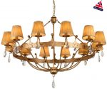 Elstead Windsor 12 Light Large Chandelier Gold Patina Crystal Drops