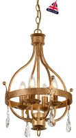 Elstead Windsor 4 Light Chandelier Pendant Gold Patina Crystal Drops