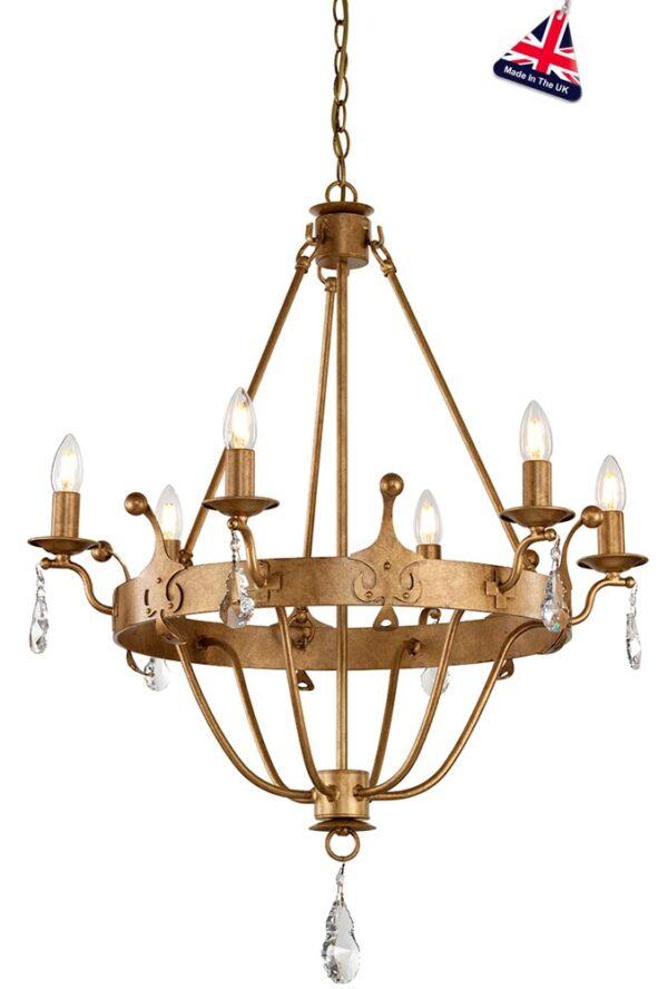 Elstead Windsor 6 Light Chandelier Gold Patina Crystal Drops British Made