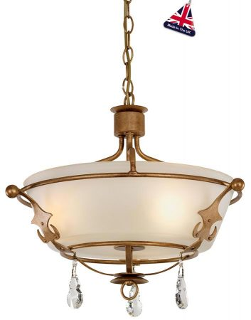 Elstead Windsor 3 Light Semi Flush Pendant Gold Patina Crystal Drops