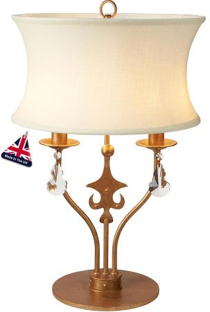Elstead Windsor 2 Light Table Lamp Gold Patina Crystal Drops Shade