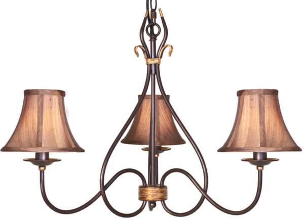 Windermere Wrought Iron Rust Gold 3 Light Chandelier