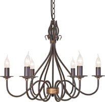 Windermere Wrought Iron Rust Gold 6 Light Chandelier