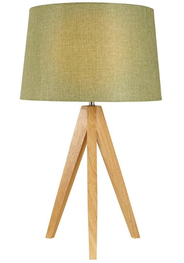 Small wooden tripod table lamp with olive green shade