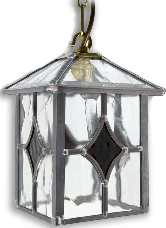 Yeovil Gothic Dark Amber Leaded Glass Hanging Outdoor Porch Lantern