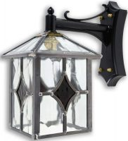 Yeovil Gothic Dark Amber Leaded Glass Traditional Outdoor Wall Lantern