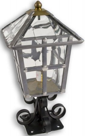 York Handmade Clear Rippled Leaded Glass Outdoor Pedestal Lantern